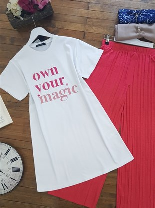 Own Your Magic Baskılı T-Shirt -Beyaz